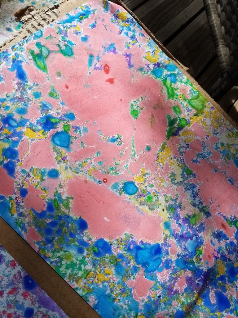 Marbré rose et bleu